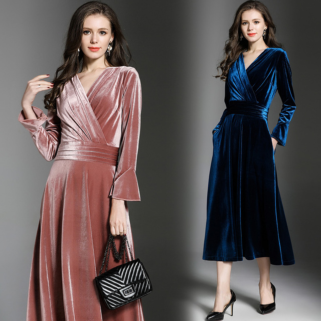 6b2a0063c2b05 Tingfly Designer Cross V neck Velvet Pleated Dress Vintage Slim Waist Midi  Long Velvet Party Dresses