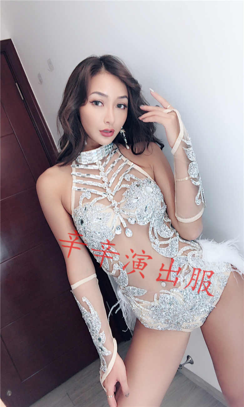 8bada9332f92 ... Rhinestone bodysuit Sparkly Silver Crystals Mesh Bodysuit Feather  Leotard Outfit Women Bar Dance Stage Party Dance
