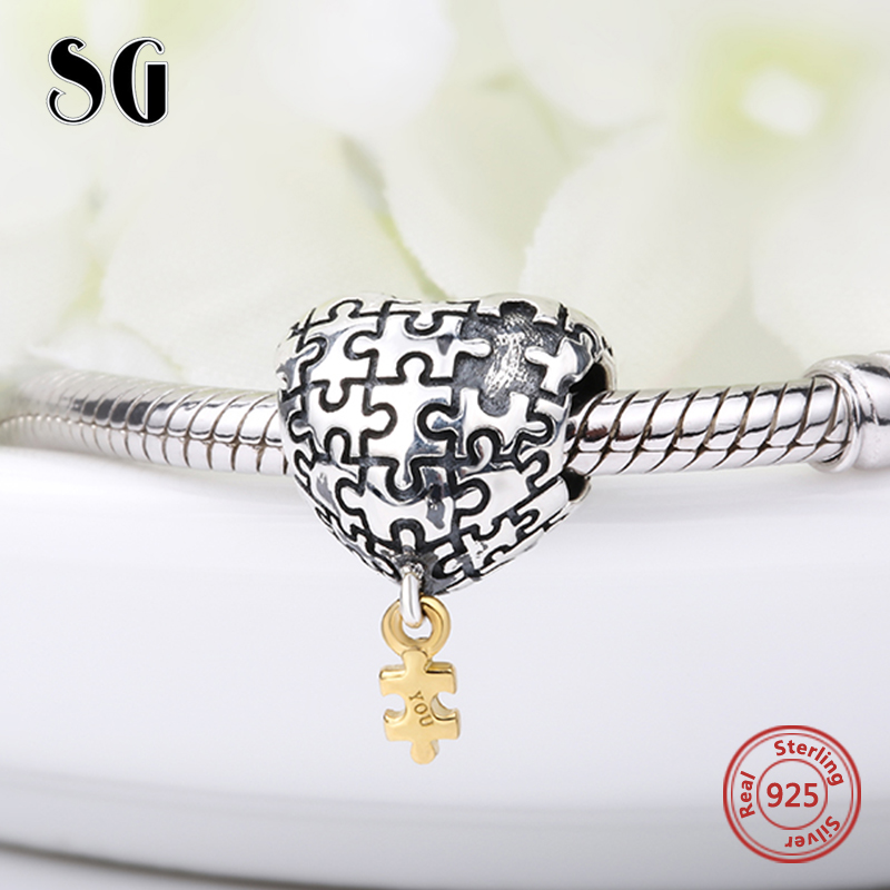 Puzzle amour coeur Charms Argent 925 Perles mon coeur est complète avec vous Fit original pandora Bracelets Bijoux Pour fille de Cadeaux