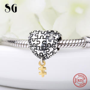 d6cc63454 Puzzle love heart Charms Silver 925 Beads my heart is complete with you Fit  original pandora Bracelets Jewelry For girl's Gifts