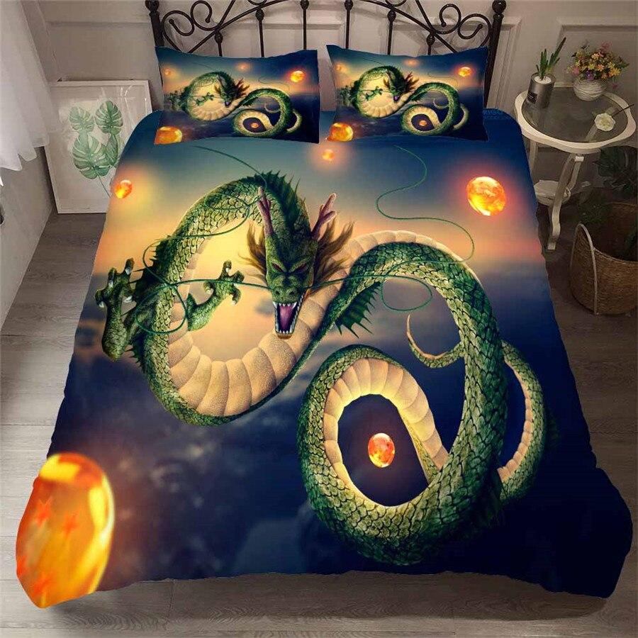 HELENGILI 3D ensemble de literie Dragon Ball imprimé housse de couette ensemble de literie avec taie d'oreiller ensemble de lit Textiles de maison # LZ-26