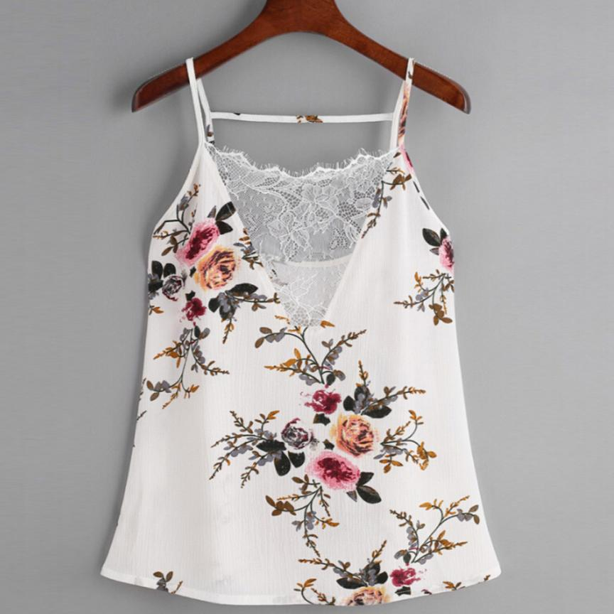 KANCOOLD Tops High Quality Chiffon Lace Vest Top Sleeveless Casual Tank T-Shirt Print Summer Tops For Women 2018 Ap27