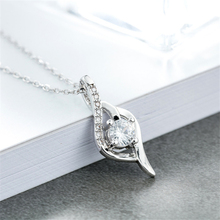 Trendy hot sale water drop geometric 925 sterling sliver necklaces neck pendant wedding engagement crystal luxury jewelry KL1096