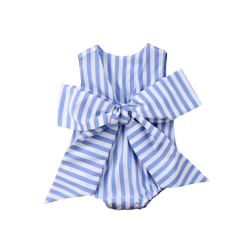 Stylish Baby Girl Bowknot Romper 2018 Summer Newborn Baby Girls Sleeveless Jumpsuit White & Blue Striped Romper Clothes Outfits 2017 summer toddler kids girls striped baby romper off shoulder flare sleeve cotton clothes jumpsuit outfits sunsuit 0 4t