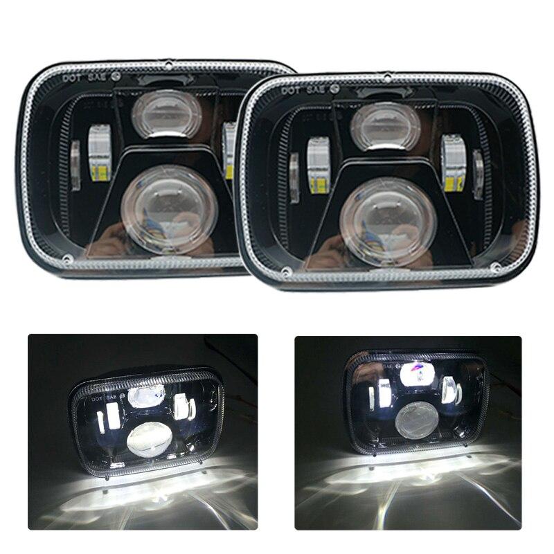 5x7 inch Rectangular Sealed Beam LED Headlight Hi/Lo Lamps for Jeep Wrangler YJ Cherokee XJ H6054 H5054 H6054LL 69822 6052 6053 1 pair 7 inch rectangular led headlight