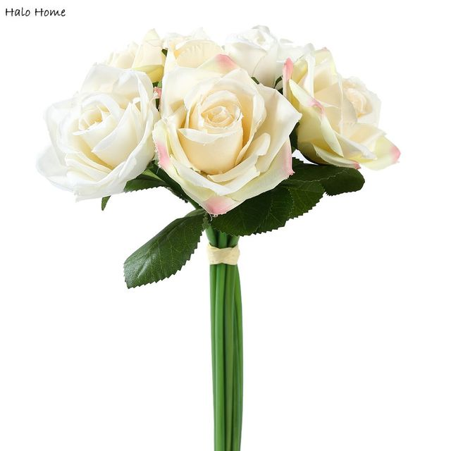1 En Soie Bouquet Fleur Artificielle Beige Rose Pour Jardin De ...
