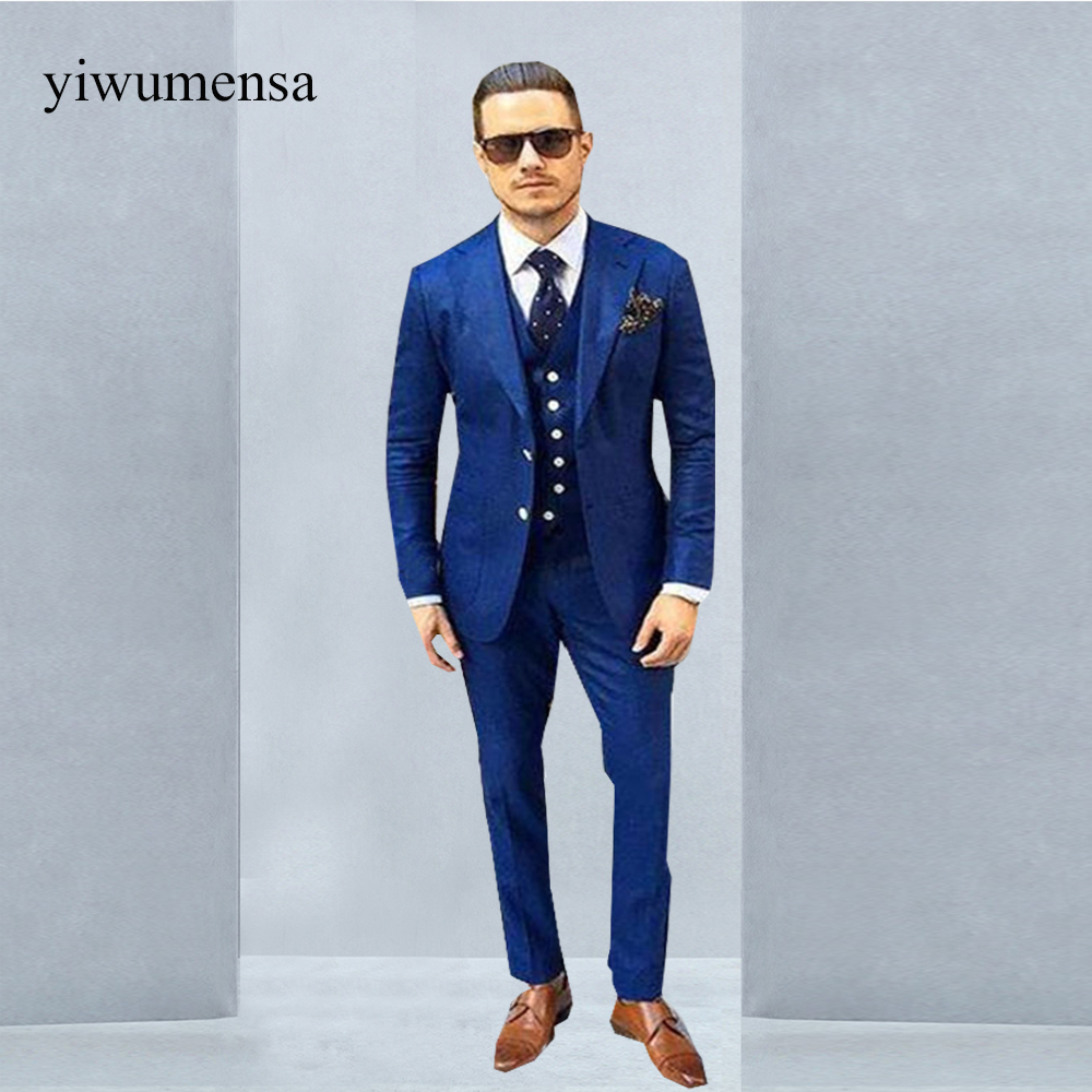 New Royal Blue 3 Pieces Mens Suits 2 Buttons Wedding Suits for Men ...