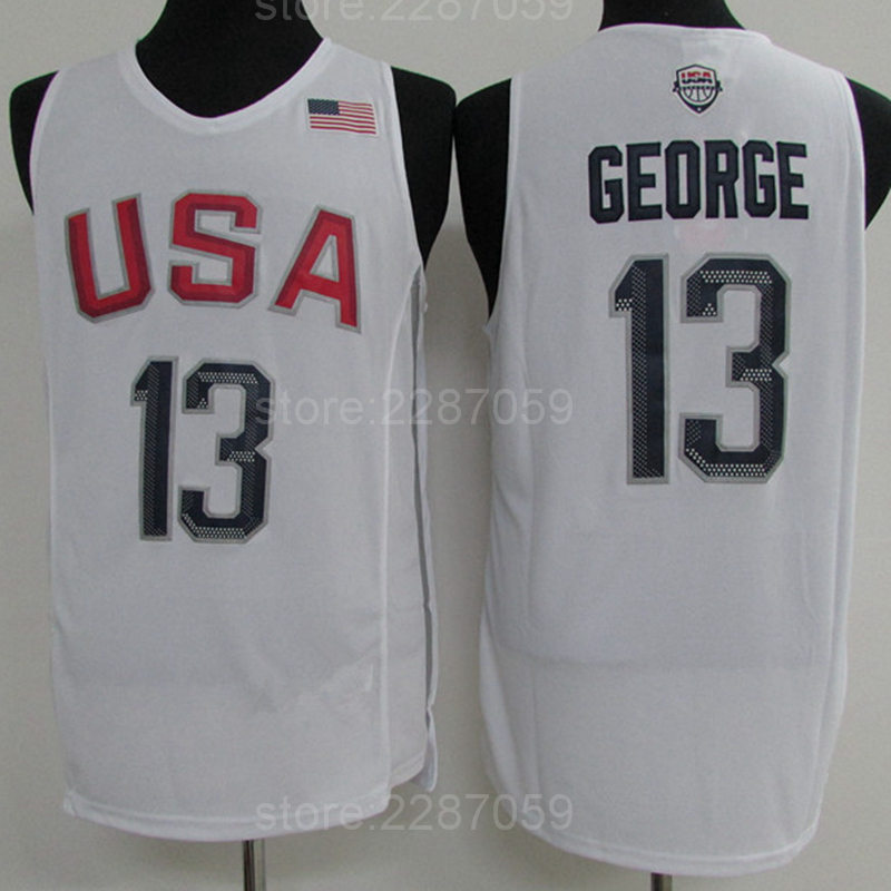 big sale c72f1 de3fc Buy Ediwallen 13 Paul George Jersey Men Navy Blue White ...