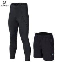 2Pcs Men Running Compression Shorts+Leggings With Zipper Pocket