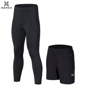 Image 5 - 2Pcs Men Running Tights Shorts Pants Sport Clothing Soccer Leggings Compression Fitness Football Basketball Tights Zipper Pocket