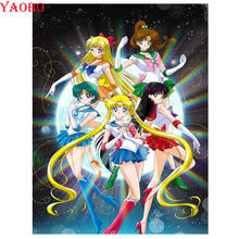 Diamond Painting Embroidery Pictures Sailor Moon Anime 5d Mosaic Rhinestones Full-Square
