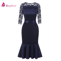 Berydress Elegant Women Mermaid Wedding Party 3 4 Sleeve Lace Top Patchwork Belted Ruffles Hem Mid