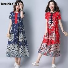 2019 cheongsam chinese classic womens Cotton Linen Cheongsam qipao elegant short sleeve Print Flower long dress