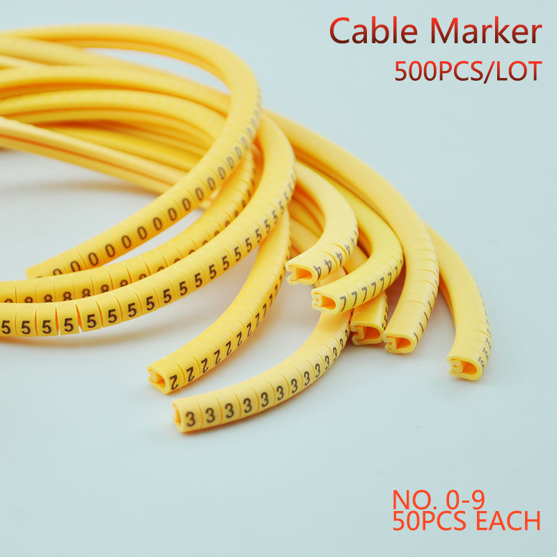 500PCS EC 1 Cable Wire Marker 0 to 9 For Cable Size 2 5 sqmm Yellow