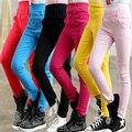 Новая Осень для детей девушки поножи дети сплошной цвет хлопка Тонкий карандаш брюки случайные спортивные брюки Дети