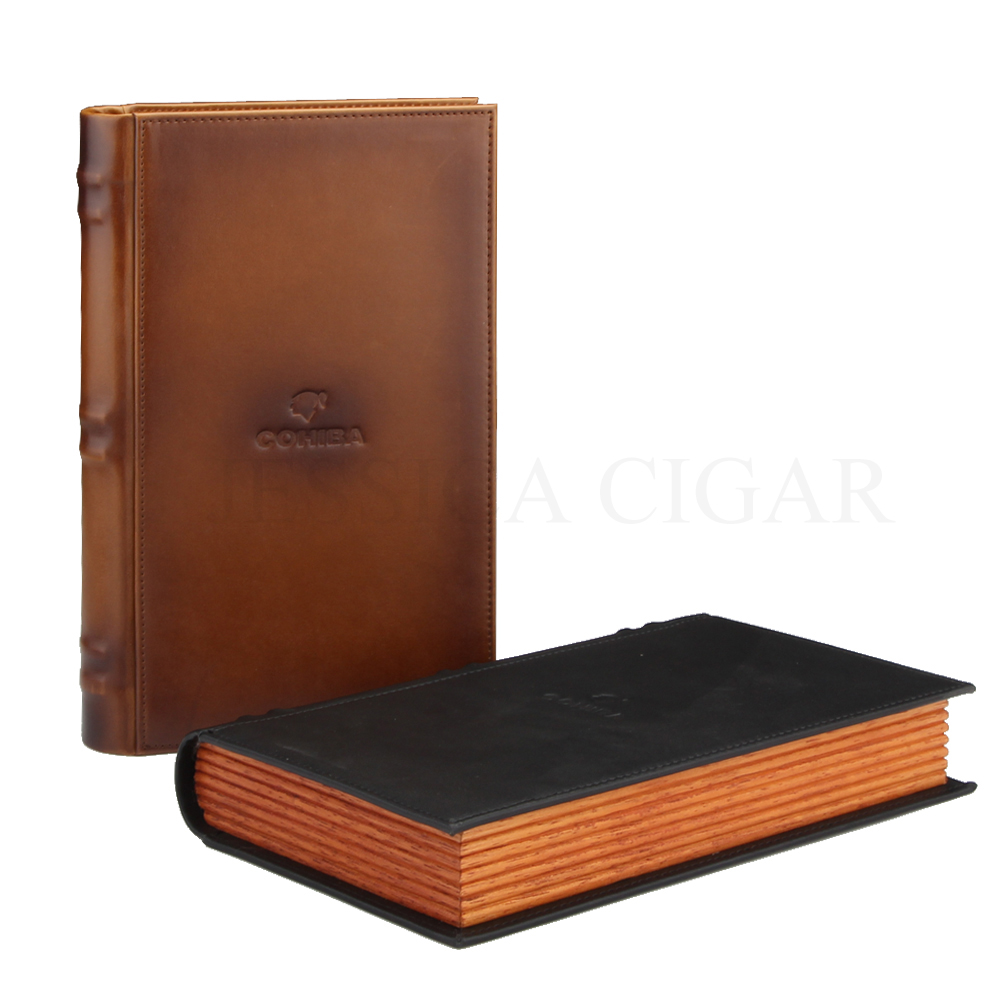 COHIBA Cedar Wood Leather Travel Cigar Case Box Portable Tobacco Humidor Holder For 5 Tubes With