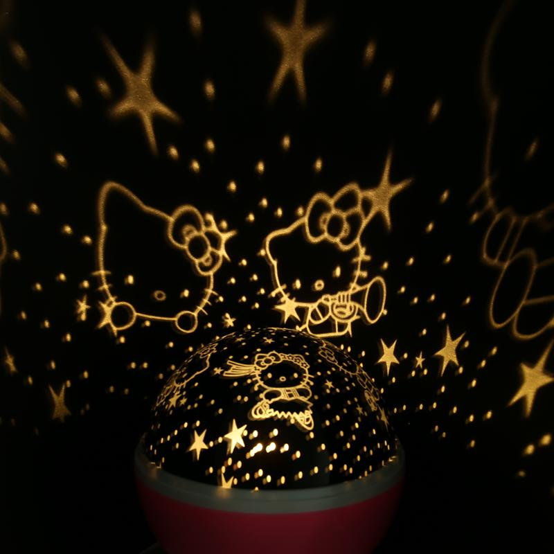 Romantic Led Ball Lamp Rotating Starry Star Holiday Lighting Kitty Projector Lamp Birthday Christmas Gift Lights