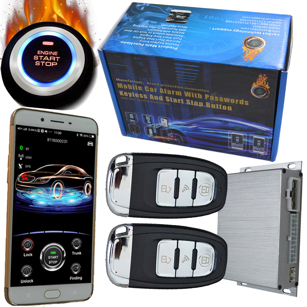 Auto Central lock system with engine start stop button gps tracking mobile app