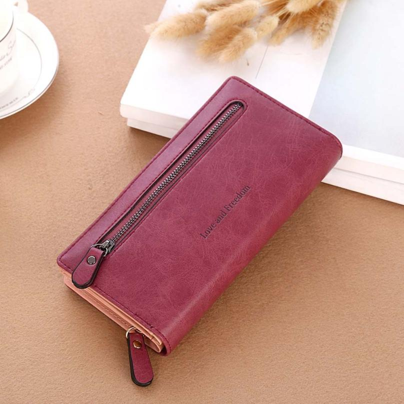 MOLAVE wallet new fashion Women Solid Color Coin Purse Long Wallets Card Holders Handbag wallet female famous jan6 fashion wallet women simple short wallets hasp coin purse credit card holders handbag carteira feminina portefeuille femme