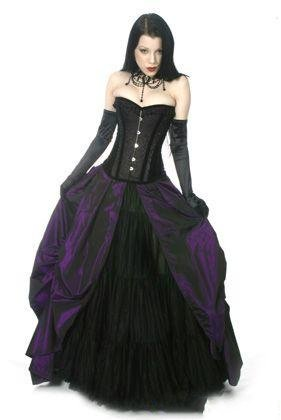 Purple And Black Wedding Dresses Corset Gothic Bridal Gown With Ruffle Skirt Traditional Dress