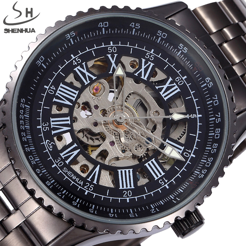 SHENHUA Skeleton Watches Men Sport Stainless Full Steel Male Fashion Clock Relogio Masculino Men Automatic Mechanical Watch shenhua brand black dial skeleton mechanical watch stainless steel strap male fashion clock automatic self wind wrist watches