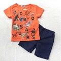 Лето детская одежда набор Мальчика костюм мультфильм динозавр печати ребенок с коротким рукавом футболки + случайных брюки