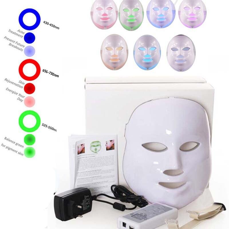7 цветов светодио дный светодиодный свет ФДТ фотон светодио дный маска для лица терапии омоложения кожи против акне морщин Красота машины И...