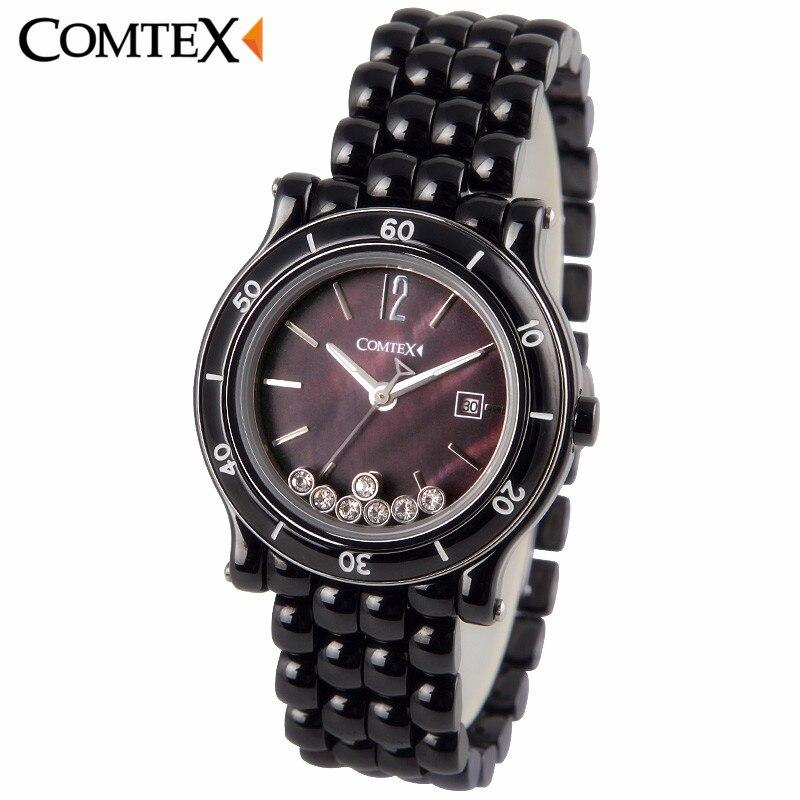 COMTEX Women Watches 2017 Fashion Casual Luxury Black Ceramic Quartz Wristwatch Woman Crystal Watch Ladies dress clock reloj