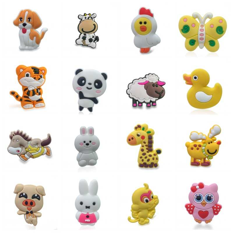 1PCS Lovely Animal PVC Shoe Charms Shoe Buckles Shoes Accessories Ornaments Fit For Croc JIBZ Party Gift