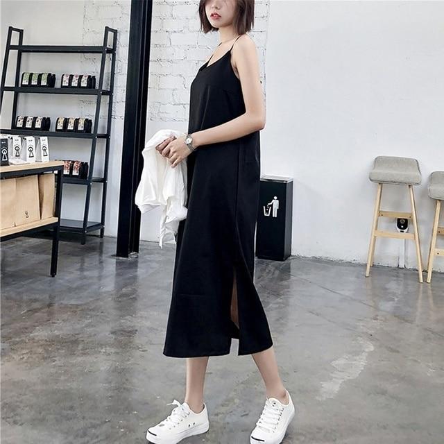 Sexy Women Maxi Dress Black Sling Dress Female Summer 2020 Sleeveless V-neck Vest Long Women Dresses 2
