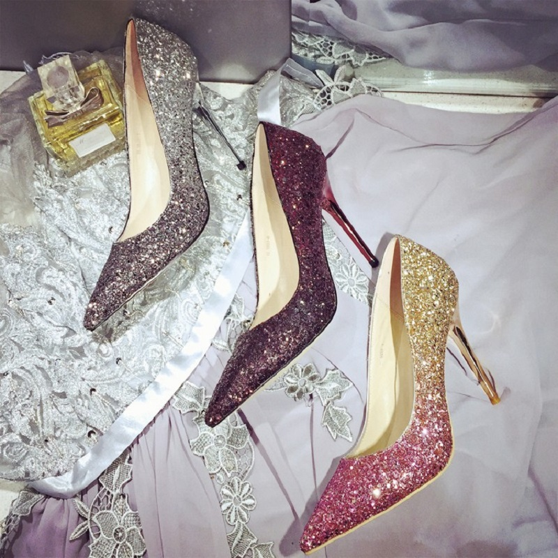 2017 spring new European and American popular sequins pointed high heels fine with women's shoes 2017 new spring