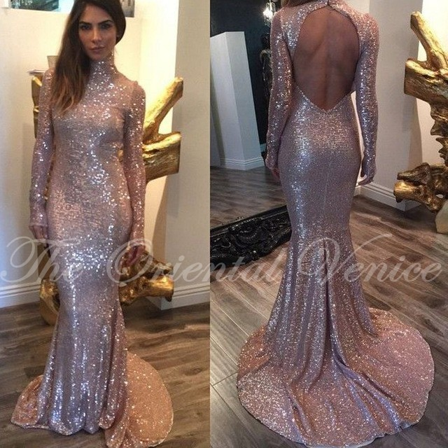 f7617bc08e462 Rose Gold Sequined Mermaid Prom Dresses Sexy Backless High Neck Long  Sleeves Evening Gowns Party Dress Vestidos de Festa Longo-in Prom Dresses  from ...