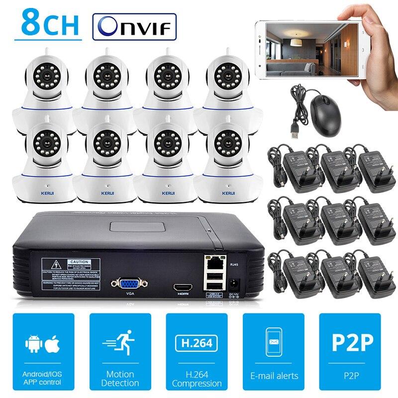 KERUI Système de Caméra de Sécurité 8CH Full HD 720 P NVR Caméra Kit ONVIF NVR Enregistreur Vidéo avec Android/IOS contrôle WiFi IP caméra