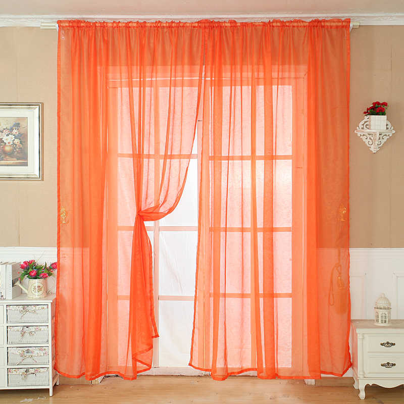 ISHOWTIENDA Solid Color Tulle Door Window Curtain Drape Panel Sheer Scarf Valance BN  Living Room Bedroom Kitchen  Hot Selling