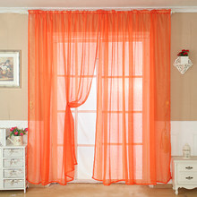 ISHOWTIENDA Solid Color Tulle Door Window Curtain Drape Panel Sheer Scarf Valance BN Living Room Bedroom Kitchen Hot Selling(China)