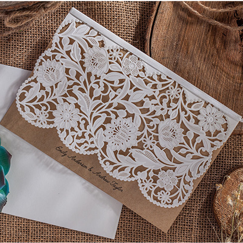 1pcs Sample Vintage Wedding Invitations Card Elegant Laser Cut Birthday Greeting Cards+Envelopes Flower Bridal Party Supplies 1pcs sample laser cut bride and groom marriage wedding invitations cards greeting cards 3d cards postcard event party supplies