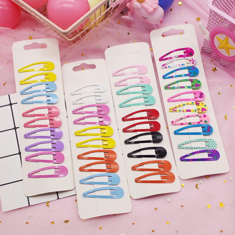 10Pcs/set Girls Candy Color Paint BB Clips Headwear Set Children Drop-shaped Hairpins Kids Simple Sweet Solid Color Hair Clips
