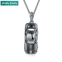 PunK Stainless Steel Car Train Bus Pendant Necklaces For Men Retro Viking Antique Silver Plated Soldier