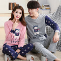 Spring and Autumn Winter Korean version of the lovely cartoon long - sleeved home service men 's suit couple pajamas women