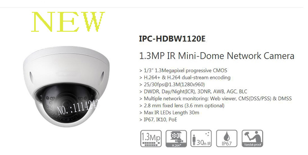 Free Shipping DAHUA 1.3MP HD IR Mini Vandalproof&Waterproof CCTV Dome Camera without Logo IPC-HDBW1120E free shipping dahua cctv camera 4k 8mp wdr ir mini bullet network camera ip67 with poe without logo ipc hfw4831e se
