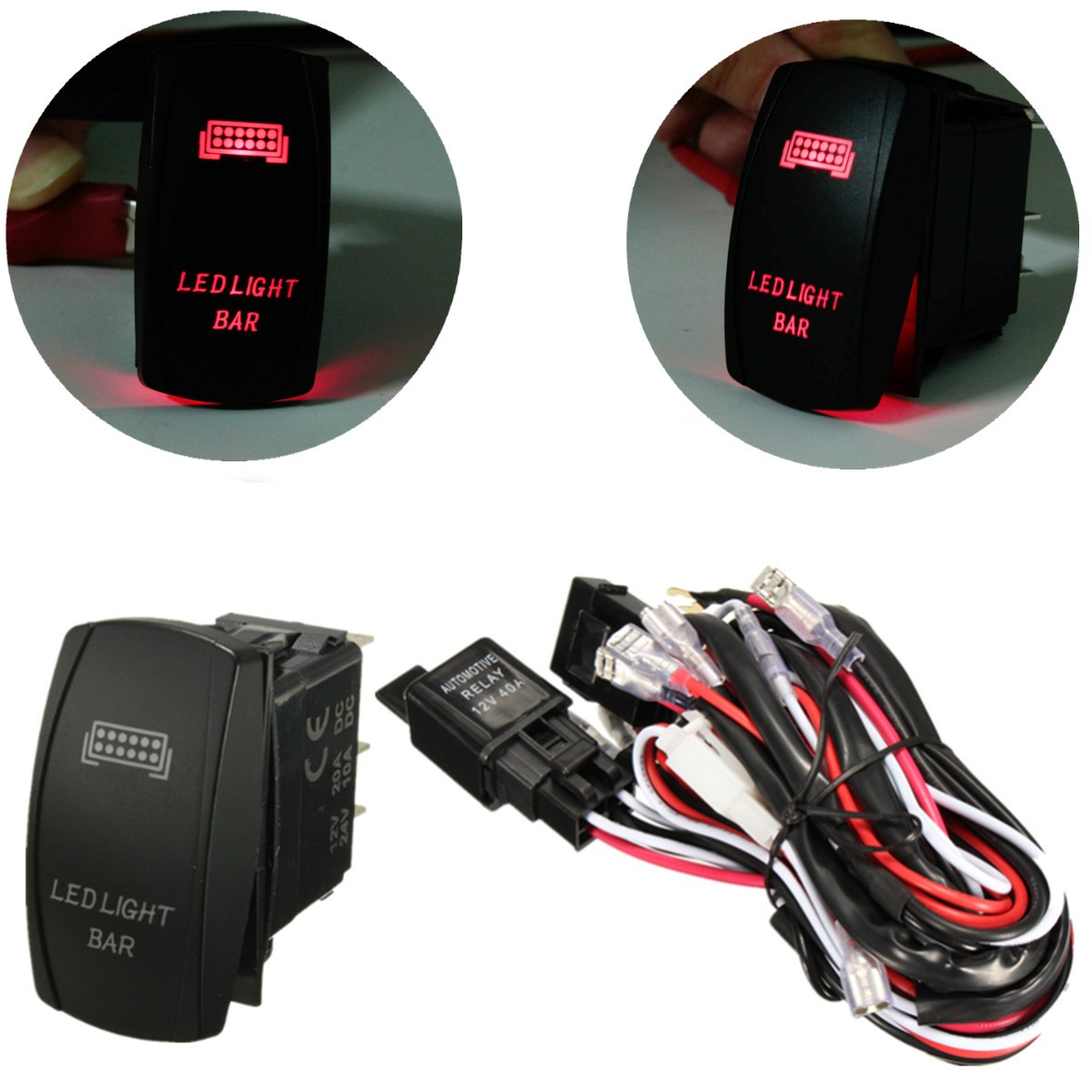Compare Prices on Light Switch Fuse- Online Shopping/Buy Low Price ...:New 12V LED Light Bar Laser Rocker On/Off Switch Wiring Harness 40A Relay  Fuse,Lighting