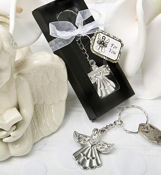 FREE SHIPPING Guardian Angel Key Ring Metal Angel Keychain Wedding&Baby Shower Favors Birthday Party Giveaway