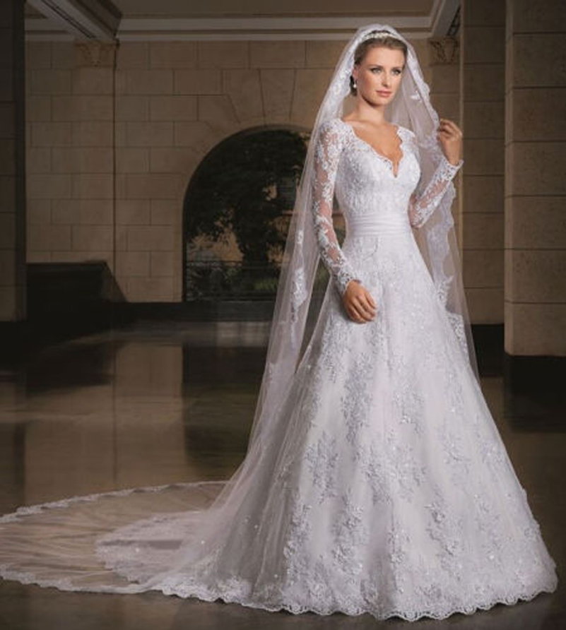 Glamorous custom size wedding dress long sleeve lace for Wedding dress in dubai