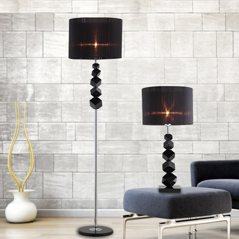 Living Room Lamp Shades: European Luxury Floor Lamps Creative Modern Black Crystal