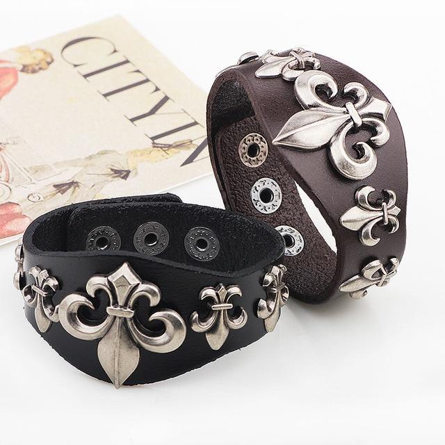 Romantic rivet genuine leather bracelet alloy accessories punk male hand christmas accessories