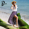 DayLook Summer Skirts Womens Vintage Stripe Skirt Lace Up Bowknot Pleated Skirt Asymmetrical Ruffled  Elegant Long Skirt