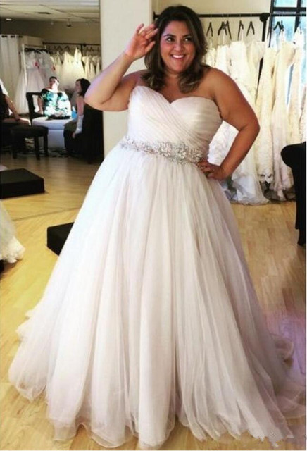 Us 123 25 15 Off Plus Size Beach Wedding Dresses Beaded Belt Pleated Sweetheart Lace Up A Line Tulle Bridal Gowns Vestido De Noiva Wedding Gown In