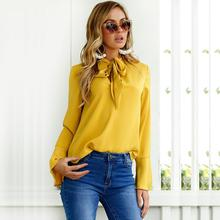 Women Fashion Blouse Shirt Chiffon Blouse Elegant Long Sleeve Shirt With Bow Tie Office Lady Wear Female Blouse  WS572Y