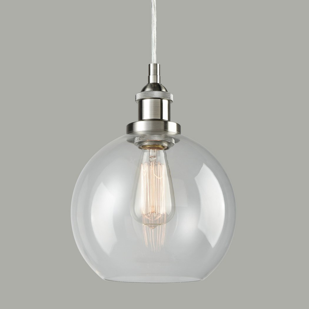 Lighting Vintage Clear Glass Globe Pendant Brushed Nickel Hanging Light Pendant Lights Aliexpress