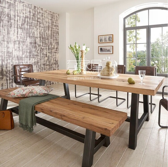 American Retro Dinette Combination Of Solid Wood Wrought Iron Dining Table Coffee Bar